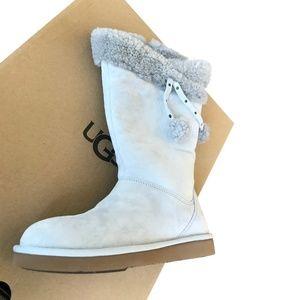 UGG Women's  PLUMDALE CUFF Tall Boots Pom Pom Zip